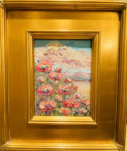 KADLIC Abstract Impasto Landscape Original Oil Painting Gold Gilt Frame 15""