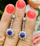 French Vintage Estate Platinum 3.07ctw Amethyst Diamond Halo Dangle Earrings