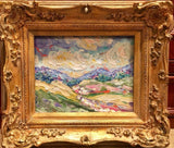 KADLIC Original Oil Painting Abstract Tuscan Italy Landscape Gold Gilt Frame 10""