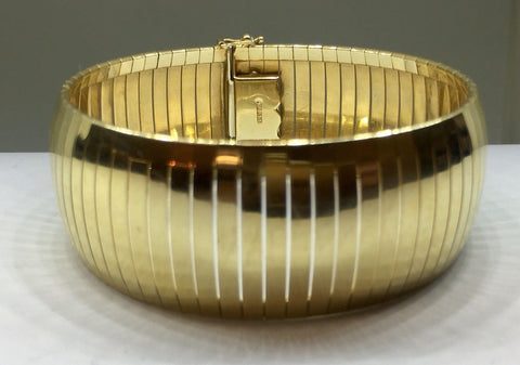 "Large Wide 14K Gold Flexible Tubagos Omega Style Bracelet Cuff Bangle 1""wide 37g"
