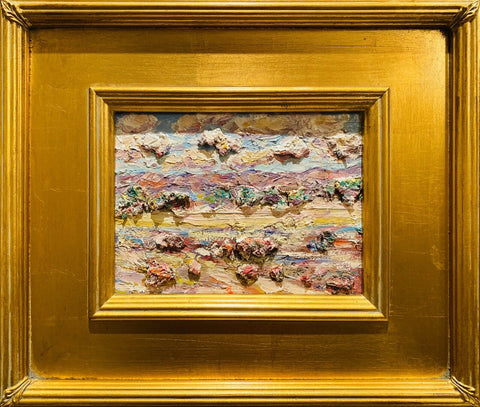 KADLIC Abstract Impasto Landscape Original Oil Painting Gold Gilt Frame 10""