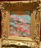 KADLIC Original Oil Painting Abstract Colored Impasto Gold Gilt Frame 10""