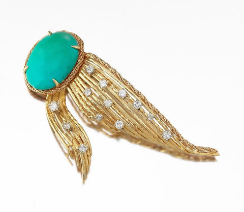 Stunning Tiffany & Co. 18k Gold Turquoise 0.92 ct Diamond Pin / Brooch / Pendant