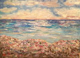"HUGE KADLIC Abstract Beach Seascape Impasto Original Oil Painting 40""x 30"""