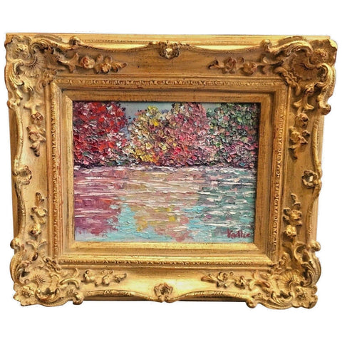 KADLIC Autumn Trees Fall Landscape Gold Gilt French Frame 8x10