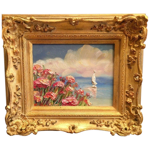 KADLIC French Pink Poppies Seascape Sailboats Gilt Gold Wood Frame 8x10""