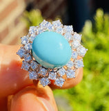 Vintage Estate 14k White Gold 7.75ctw Turquoise Diamond Halo Engagement Ring