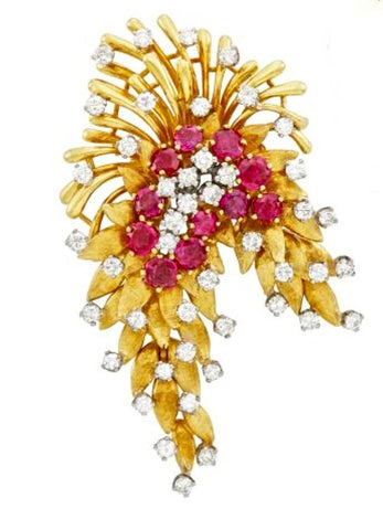 Vintage Art Deco French Heavy 18k Gold Ruby VS Diamond Brooch DES EN FRANCE