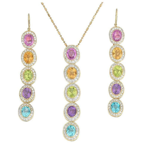 Eli Frei 18k Gold 2.7 ct F/VS Diamond Gemstone Dangle Earrings Pendant Necklace