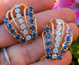 Vintage Retro 1960s 14k Gold 6ct VS Diamond Blue Sapphire Drop Cluster Earrings