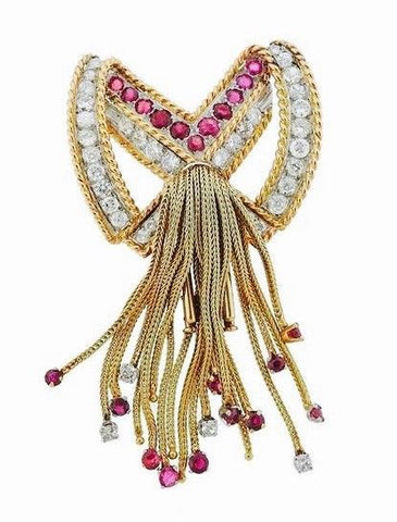 Impressive 1960s Estate French 18k Gold 3.90 G VS Diamond Ruby Tassel Brooch