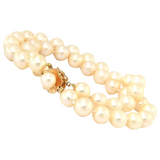 Vintage Estate 14k Gold 8mm Pearl Multi Double Strand Bracelet Heavy