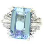 Estate Vintage Platinum 15ct Aquamarine G VS Diamond Ballerina Cocktail Ring
