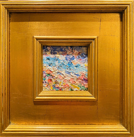 "KADLIC Abstract Impasto Original Oil Table Painting Gold Gilt Frame 10"" Fine Art"