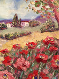 "KADLIC Tuscany Italy Red Poppy Poppies  Landscape Original Oil Painting 24""x30"""