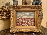 KADLIC Original Oil Painting Abstract Sunset Beach Impasto Gold Gilt Frame 15""