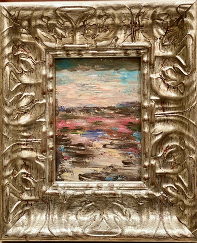 KADLIC Abstract Landscape Impasto Gilt Silver Wood Frame 10""