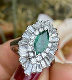 Large Vintage 14k Gold 3.3ct VS Emerald Marquise Diamond Baguette Ballerina Ring
