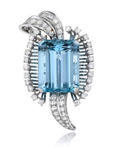 Mid Century Deco Retro 1950s 24+ct Aquamarine G-H/VS Diamond Platinum Brooch