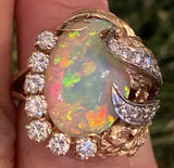 Vintage 1960s Heavy 14k Gold Free Form Bimorphic Opal Diamond Cocktail Ring