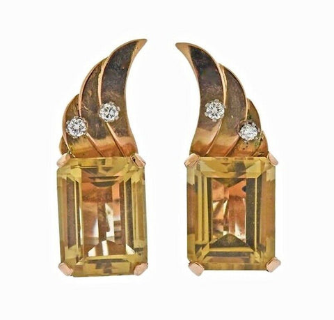 Vintage 1950s Retro Estate 18k Gold Emerald Cut Citrine Diamond Earrings