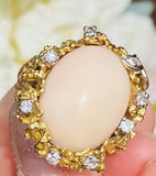 Free Form 1970's Vintage Estate 18k Yellow Gold Angel Skin Coral Diamond Ring