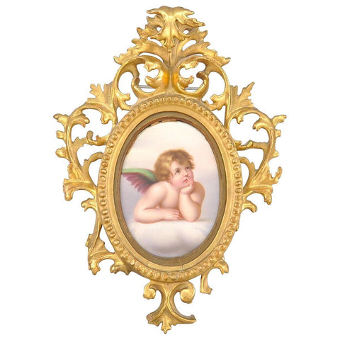 KPM Style Painted Porcelain Plaque Cherub Gold Giltwood Italy Tole Frame 19th C