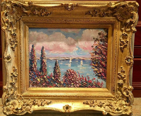 French Paris PaintingOriginal Oil by Yuri Kuzmin (Russian, 1949) Gilt Wood Frame