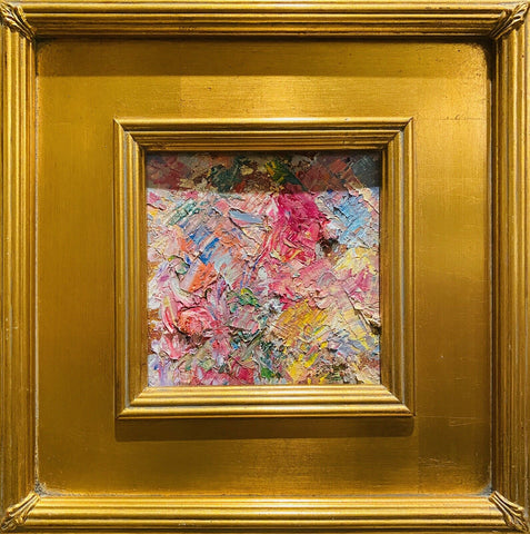 "KADLIC Abstract Impasto Original Oil Painting Gold Gilt Frame 12x12"" Fine Art"