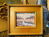 "KADLIC Abstract Impasto Original Oil Table Painting Gold Gilt Frame 12"" Fine Art"