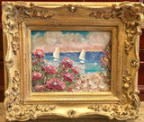 KADLIC Pink Flowers Floral Seascape Sailboats Gilt Wood Frame 8x10""