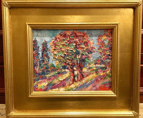 KADLIC Original Oil Painting Trees Impasto Autumn Landscape Gold Gilt 8x10
