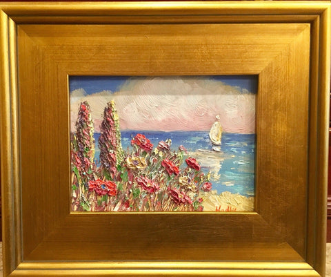 "KADLIC Beach Seascape Tuscan Riviera Original Oil Painting 9x11"" Gold Gilt Frame"