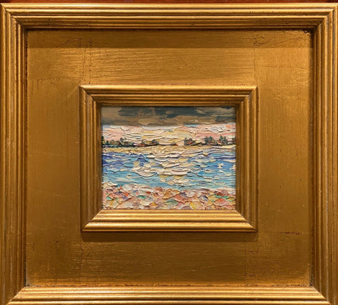 KADLIC Beach Seascape Riviera Original Oil Table Painting Gold Gilt Frame 10""
