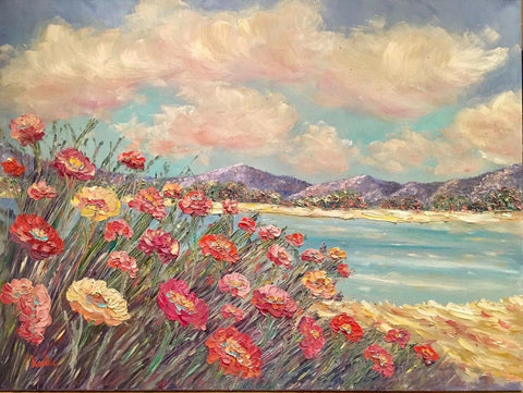 HUGE KADLIC Abstract Floral Seascape Beach Impasto Original Oil Painting 40x30""