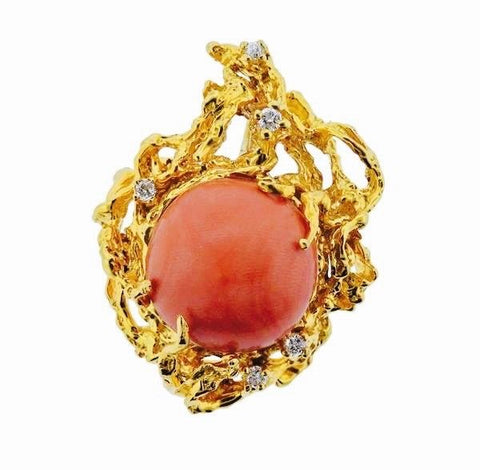 Striking 1970s Retro 14k Gold Coral Diamond Freeform Naturalistic Brooch Pendant