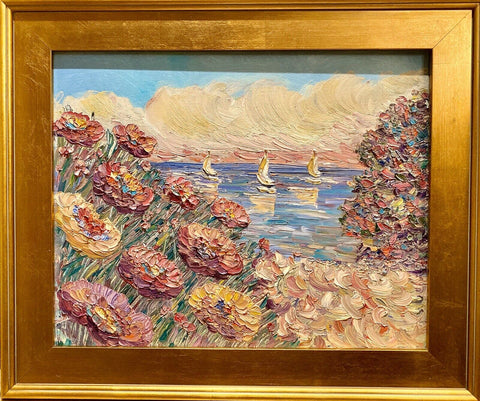 KADLIC Abstract Seascape FloraL Impasto Original Oil Painting Gilt Frame 20""