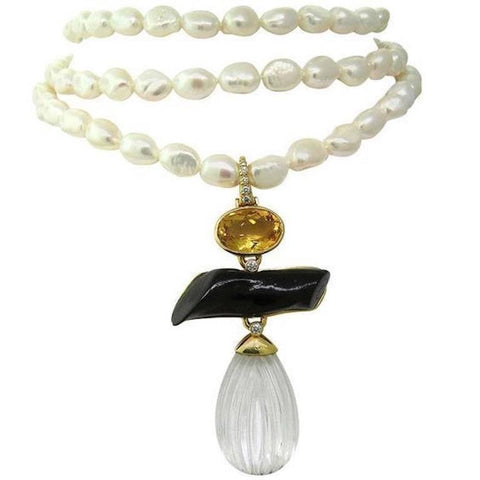 Andrew Clunn Triple Strand Pearl Necklace Citrine Diamond 18k Gold Pendant