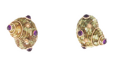 Striking Estate 14K Gold Maz Designer Amethyst Cabochon Shell Earrings