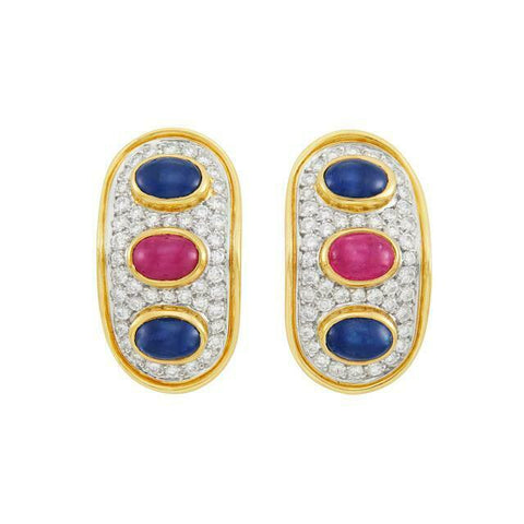 Vintage Estate 14k Gold 1.80ct VS Diamond Sapphire Ruby Cabachon Earrings