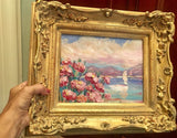KADLIC Flowers Pink Floral Seascape Sailboats Gilt Wood Frame 8x10""