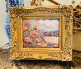 KADLIC Impasto Floral Landscape Wild Flowers Gilt Ornate Gold Wood Frame 15""