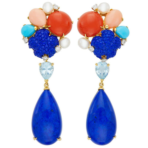 Estate 18kt Gold Lapis Coral Turquoise Aquamarine Pearl Diamond Pendant Earrings