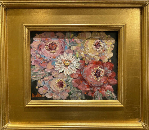 KADLIC Floral Roses Flowers Original Oil Painting 8x10 Gold Gilt Leaf Frame