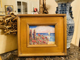KADLIC Mediterranean Seascape Original Oil Painting Gold Gilt Frame 14""