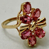 Vintage Estate 14k Gold 6ct Pink Tourmaline Gemstone Cluster Cocktail Ring