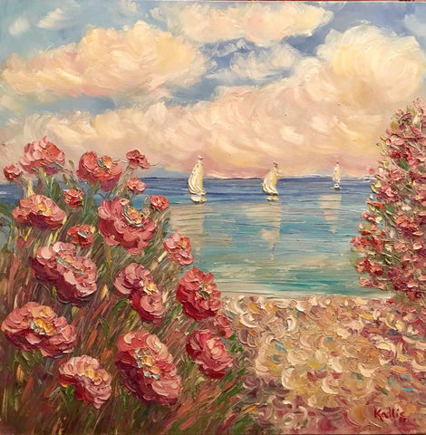 "30x30"" Pink Floral Flowers Beach Seascape KADLIC Original Oil Painting Art"