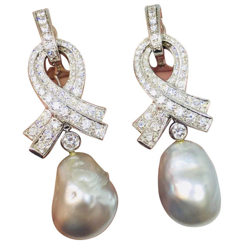 Marlene Stowe 2.62 ct Diamond Day/Night Drop Dangle Baroque Pearl Earrings $8500
