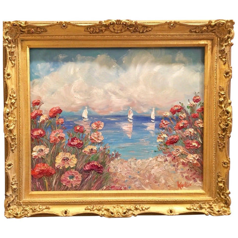 "24x20"" Mediterranean Seascape KADLIC Original Oil Painting Art Gold Frame"