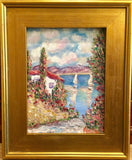 "KADLIC Villa Seascape Blues Aqua Original Oil Painting 9x12"" Gold Gilt Frame"